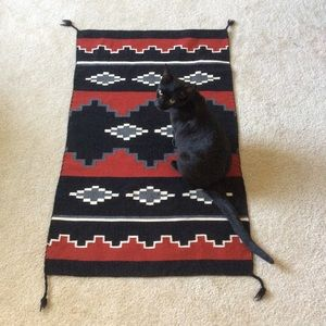 Authentic Tight Woven Tribal Rug Black Red White